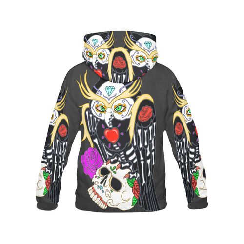 Sugar Skull Owl And Skull Black Women's All Over Print Hoodie (USA Size) (Model H13)