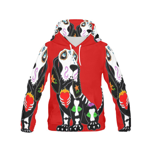 Basset Hound Sugar Skull Red All Over Print Hoodie for Women (USA Size) (Model H13)