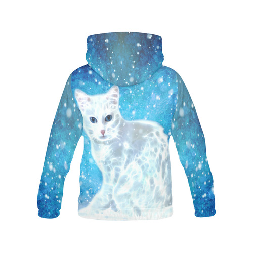Abstract cute white cat All Over Print Hoodie for Women (USA Size) (Model H13)