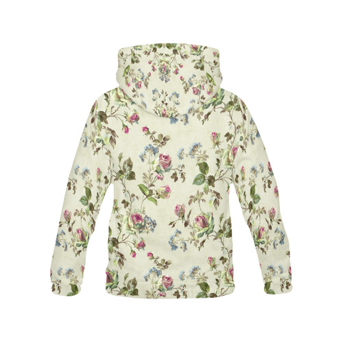 Victorian Vintage Roses All Over Print Hoodie for Women (USA Size) (Model H13)