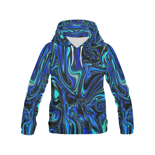 Liquid Blues Women's All Over Print Hoodie (USA Size) (Model H13)