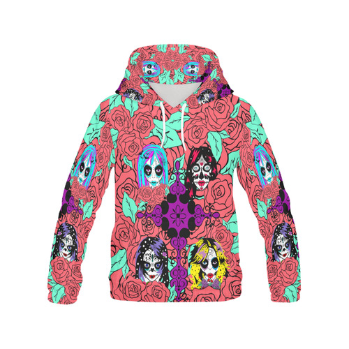 sugarskull-sisters-4 All Over Print Hoodie for Women (USA Size) (Model H13)