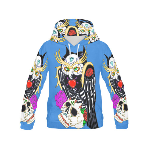 Sugar Skull Owl And Skull Blue All Over Print Hoodie for Women (USA Size) (Model H13)