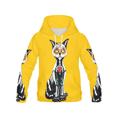 Sugar Skull Cat Yellow Women's All Over Print Hoodie (USA Size) (Model H13)