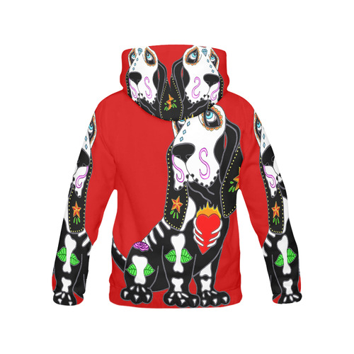 Basset Hound Sugar Skull Red Women's All Over Print Hoodie (USA Size) (Model H13)