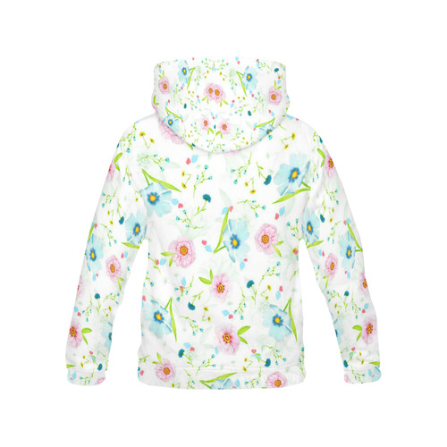 Pastel Pink Turquoise Floral All Over Print Hoodie for Women (USA Size) (Model H13)