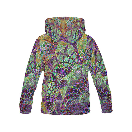 Mystical Mardi Gras Fractal All Over Print Hoodie for Women (USA Size) (Model H13)
