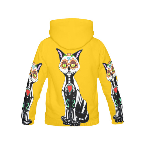 Sugar Skull Cat Yellow All Over Print Hoodie for Women (USA Size) (Model H13)