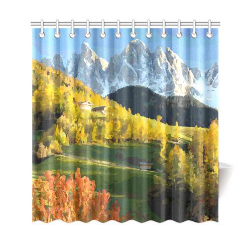 Mountain Landscape Autumn Leaves Shower Curtain 69x72