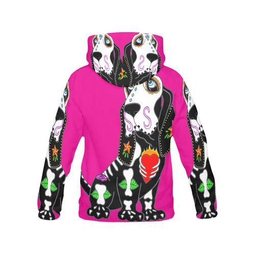 Basset Hound Sugar Skull Pink Women's All Over Print Hoodie (USA Size) (Model H13)