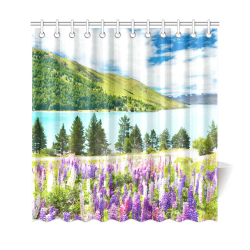 Mountain Landscape Floral Lake Trees Shower Curtain 69x72