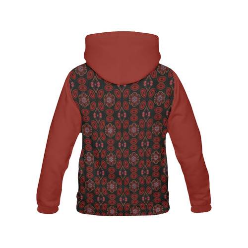 Black and Red Abstract All Over Print Hoodie for Women (USA Size) (Model H13)