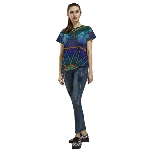 Moon Stone Mandala All Over Print T-Shirt for Women (USA Size) (Model T40)
