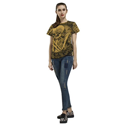 The skeleton in a round button with flowers All Over Print T-Shirt for Women (USA Size) (Model T40)