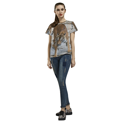 Tiger 1216 AJ by JamColors All Over Print T-Shirt for Women (USA Size) (Model T40)