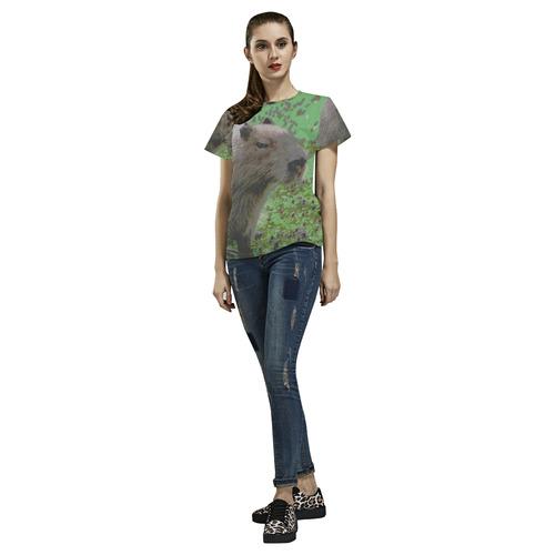 Animal ArtStudio 916 capybara All Over Print T-Shirt for Women (USA Size) (Model T40)