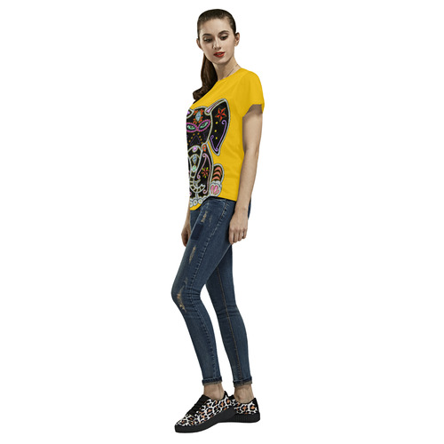 Mystical Sugar Skull Elephant Yellow All Over Print T-Shirt for Women (USA Size) (Model T40)