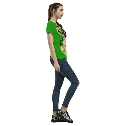 Siamese Cat Sugar Skull Green All Over Print T-Shirt for Women (USA Size) (Model T40)