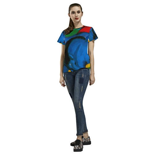 The Little Blue Horses by Franz Marc All Over Print T-Shirt for Women (USA Size) (Model T40)