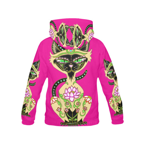 Siamese Cat Sugar Skull Pink All Over Print Hoodie for Women (USA Size) (Model H13)