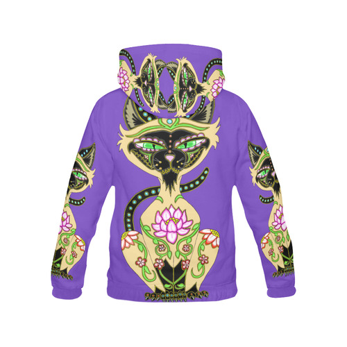 Siamese Cat Sugar Skull Purple All Over Print Hoodie for Women (USA Size) (Model H13)