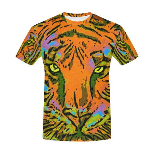 Pop Art TIGER HEAD orange green blue All Over Print T-Shirt for Men (USA Size) (Model T40)