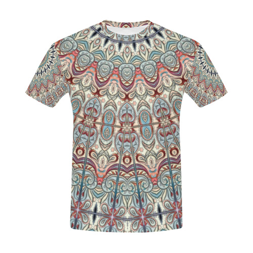 Oriental Watercolor Mandala Soft Blue Red All Over Print T-Shirt for Men (USA Size) (Model T40)