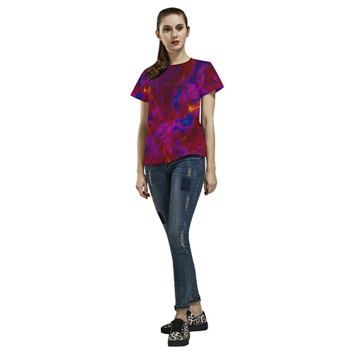 Pink Red Blue Splash All Over Print T-Shirt for Women (USA Size) (Model T40)