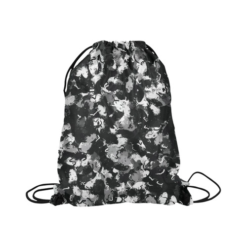 "Shades of Gray  and Black oils #1979 Basketball Drawstring Bag Model 1604 (Twin Sides)  16.5""(W) * 19.3""(H)"