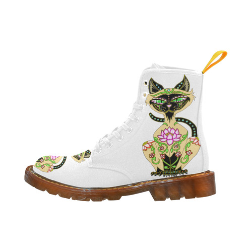 Siamese Cat Sugar Skull White Martin Boots For Women Model 1203H