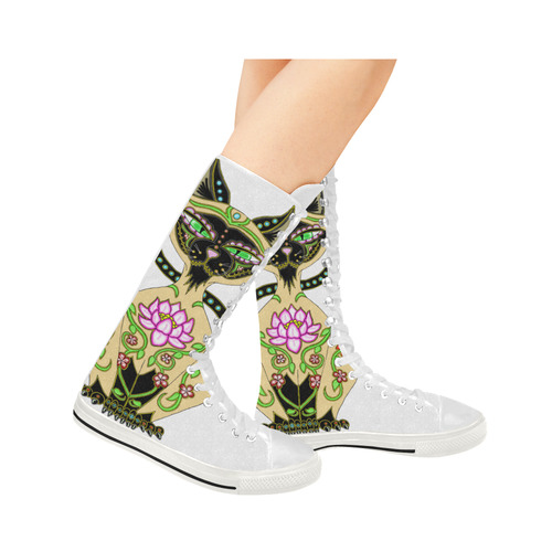Siamese Cat Sugar Skull White Canvas Long Boots For Women Model 7013H
