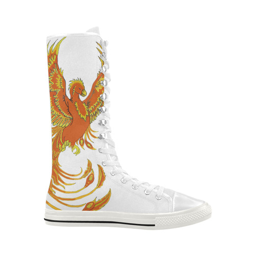 Phoenix Rising White Canvas Long Boots For Women Model 7013H