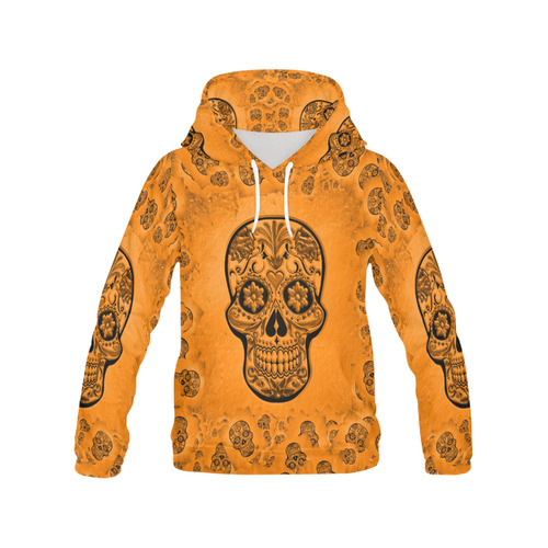 Skull20170251_by_JAMColors All Over Print Hoodie for Women (USA Size) (Model H13)