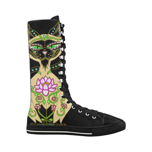 Siamese Cat Sugar Skull Black Canvas Long Boots For Women Model 7013H