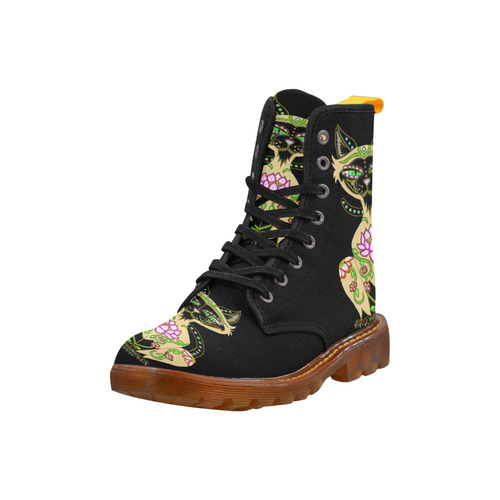 Siamese Cat Sugar Skull Black Martin Boots For Women Model 1203H