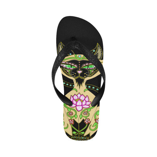 Siamese Cat Sugar Skull Flip Flops for Men/Women (Model 040)