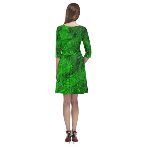Secret Caves - Green Tethys Half-Sleeve Skater Dress(Model D20)