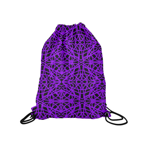 "Black and Purple String Medium Drawstring Bag Model 1604 (Twin Sides) 13.8""(W) * 18.1""(H)"
