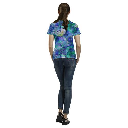 Aqua Bubbles All Over Print T-Shirt for Women (USA Size) (Model T40)