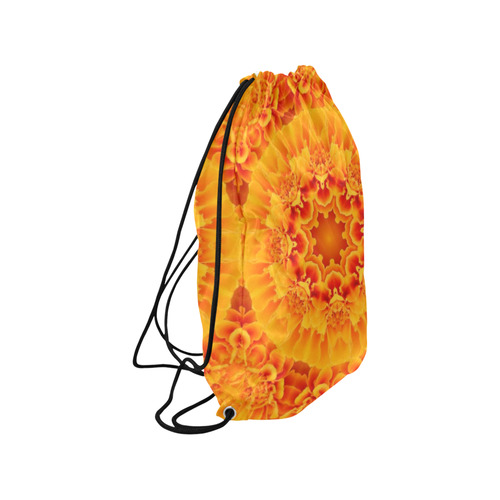 "Orange Marigold Mandala Medium Drawstring Bag Model 1604 (Twin Sides) 13.8""(W) * 18.1""(H)"