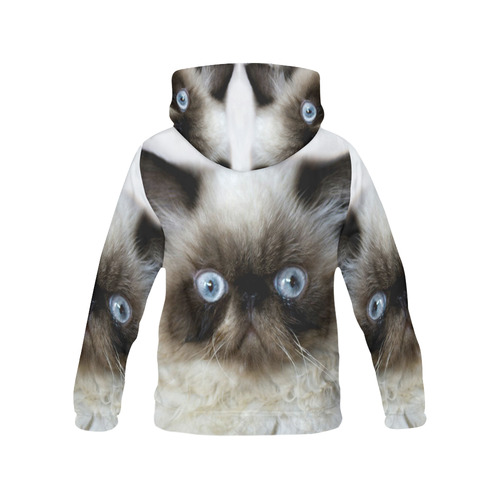 Funny Cat All Over Print Hoodie for Women (USA Size) (Model H13)