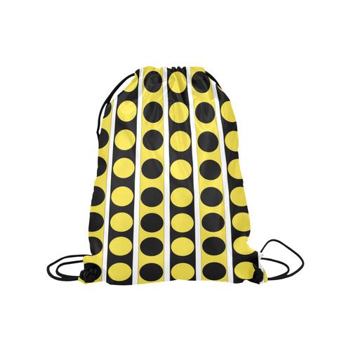 "Black, white, yellow stripes and circles Medium Drawstring Bag Model 1604 (Twin Sides) 13.8""(W) * 18.1""(H)"