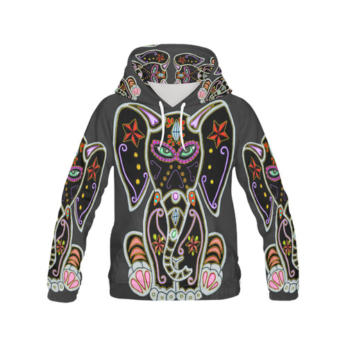 Mystical Sugar Skull Elephant Black All Over Print Hoodie for Women (USA Size) (Model H13)