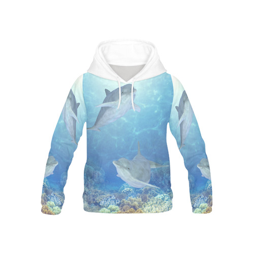 72a09919 cute dolphins, dolphin All Over Print Hoodie for Kid (USA Size) (Model H13)