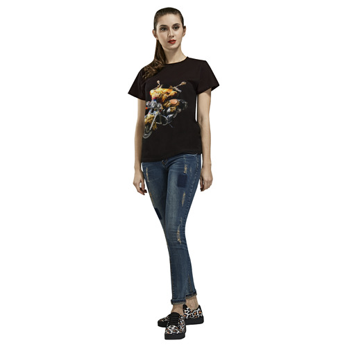 Fantastic Motorcycle All Over Print T-Shirt for Women (USA Size) (Model T40)