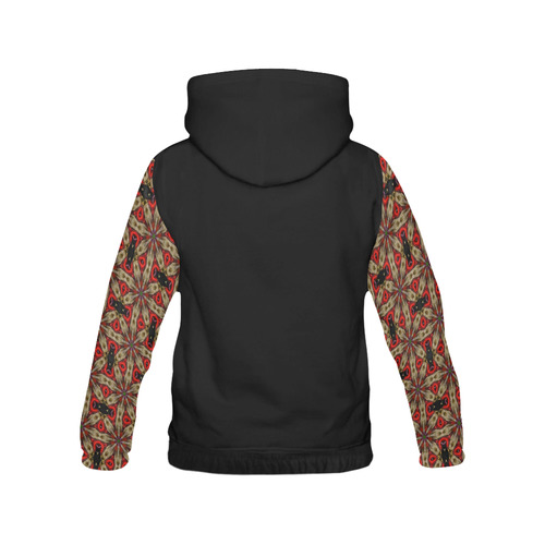 Red and Taupe All Over Print Hoodie for Women (USA Size) (Model H13)