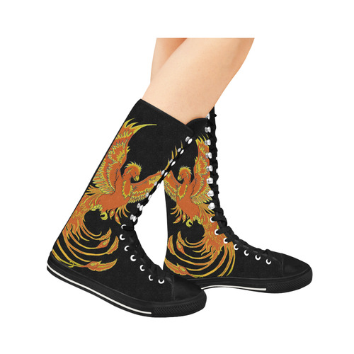 Phoenix Rising Black Canvas Long Boots For Women Model 7013H