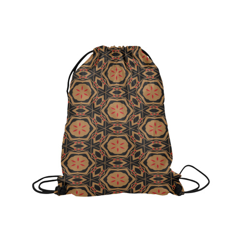"Black, Bronze and Red  2682 Medium Drawstring Bag Model 1604 (Twin Sides) 13.8""(W) * 18.1""(H)"