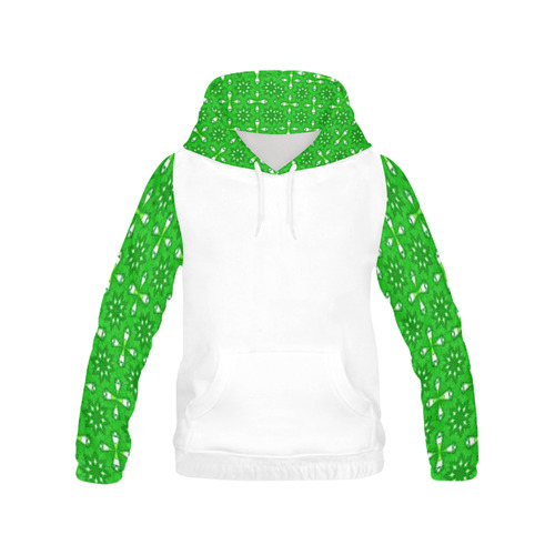 Green Star All Over Print Hoodie for Women (USA Size) (Model H13)
