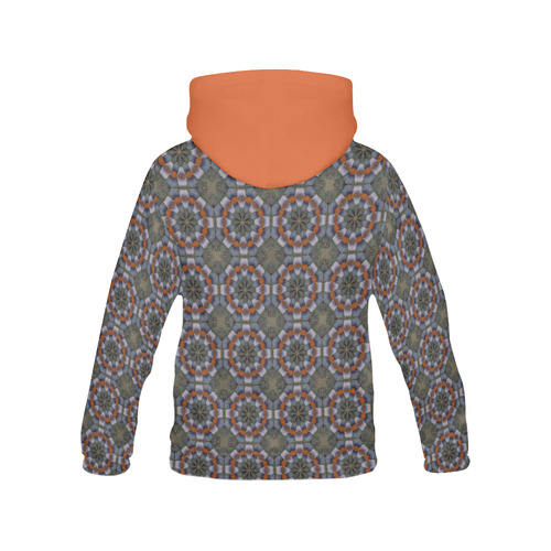 Orange and Gray All Over Print Hoodie for Women (USA Size) (Model H13)